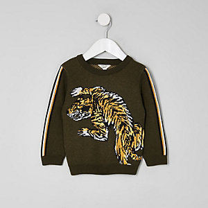 Mini boys khaki green tiger print sweater