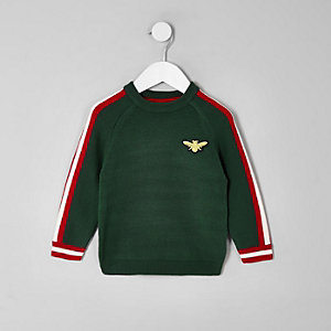 Mini boys green bee tipped jumper