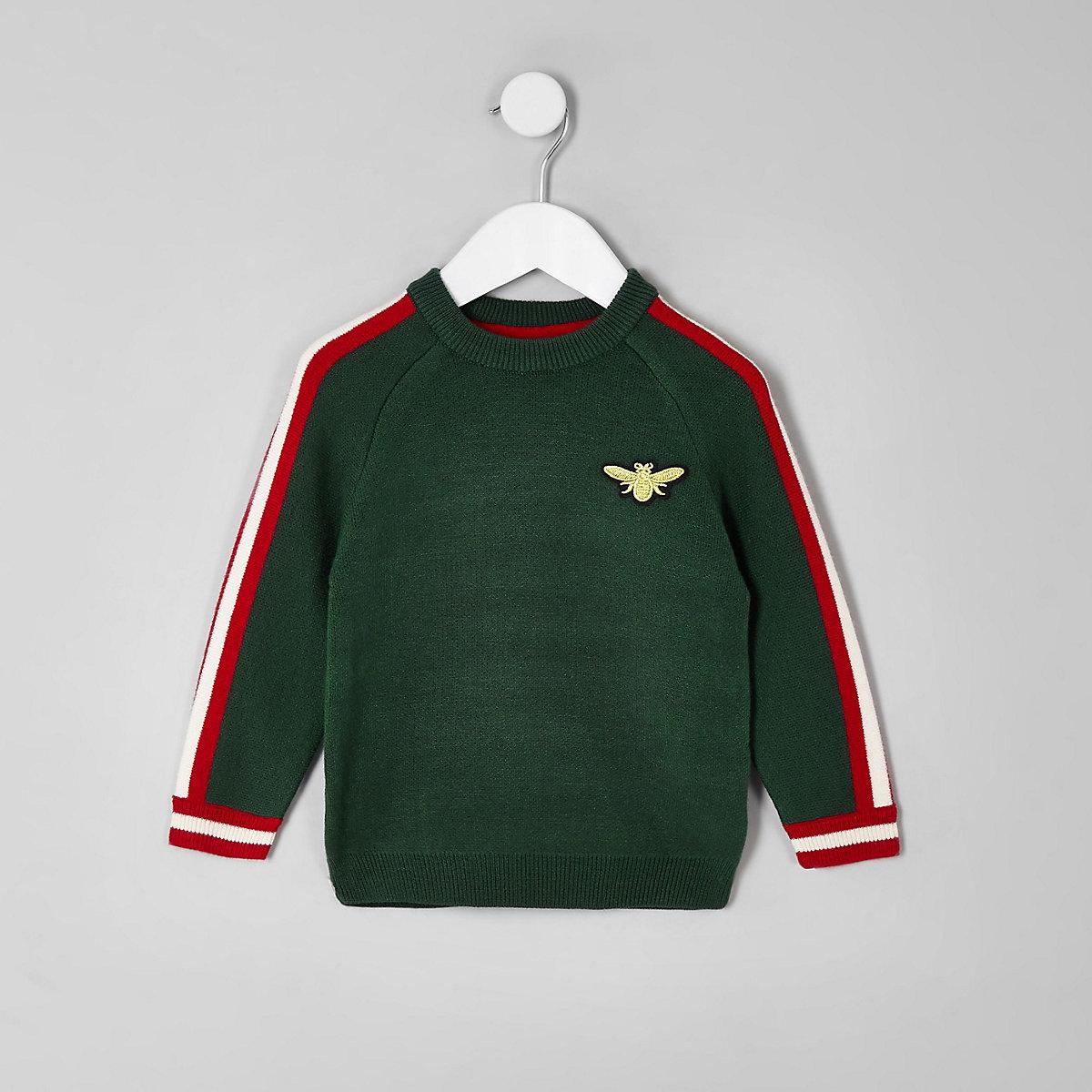 Mini boys green bee tipped sweater