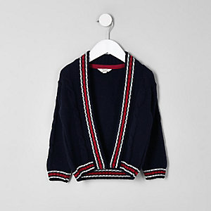 Mini boys navy cable contrast stripe cardigan