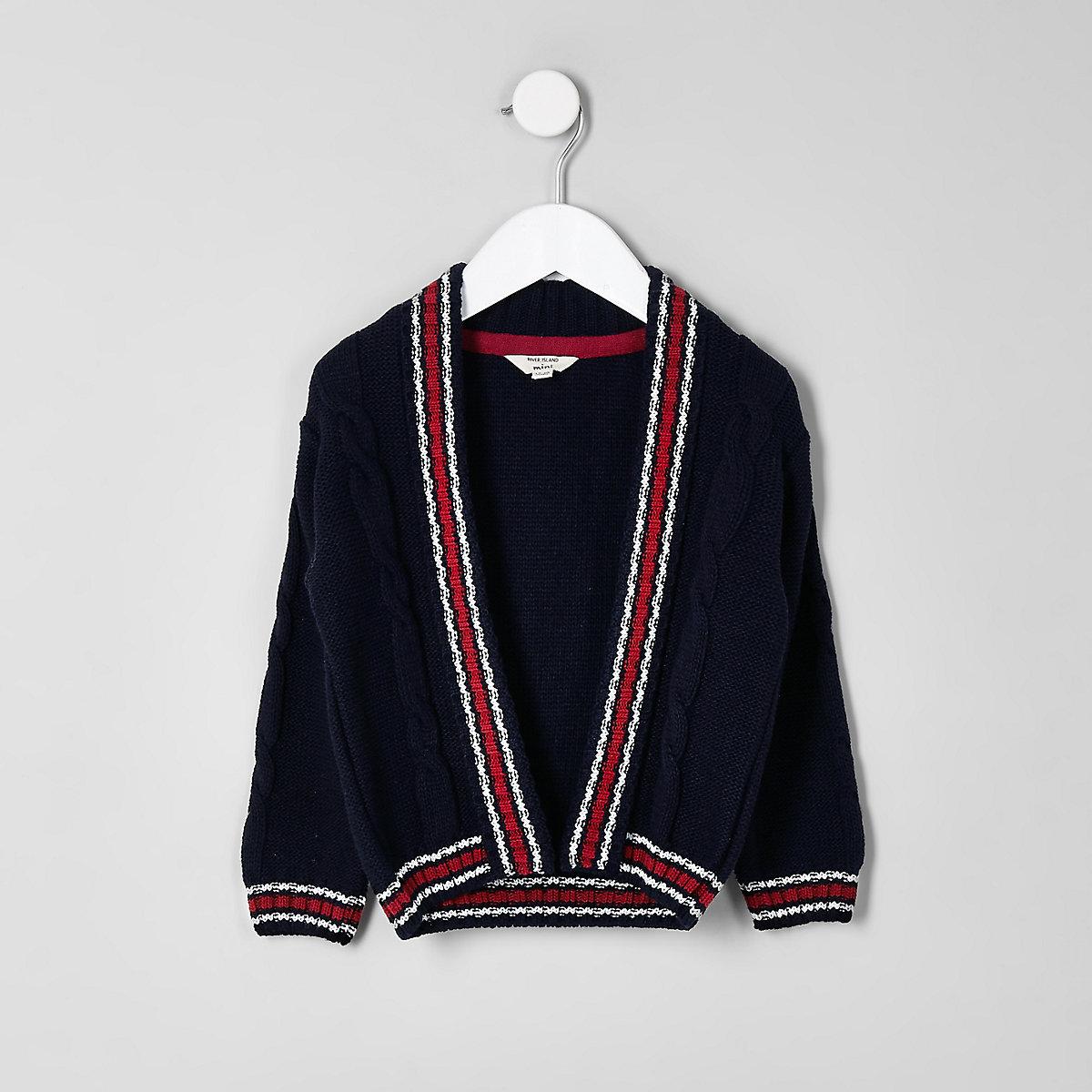 Mini boys navy cable contrast stripe cardigan