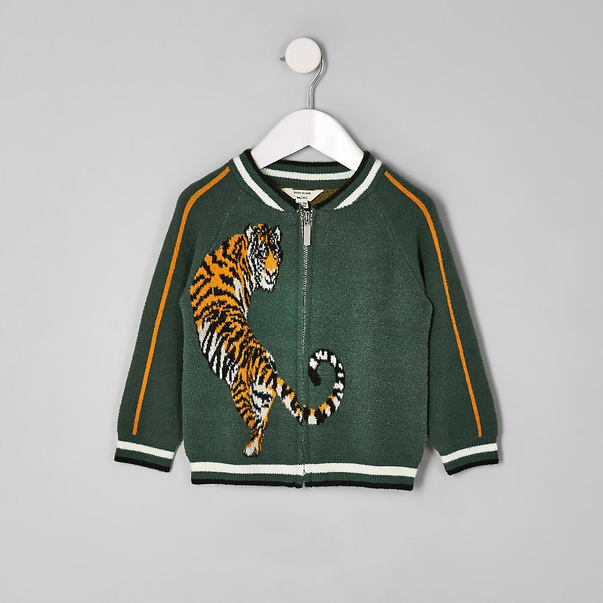 Mini boys green tiger knit bomber jacket