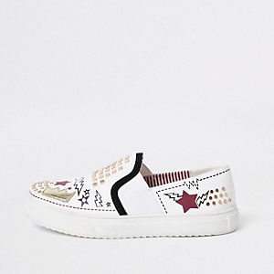 Kids white RI embellished plimsolls
