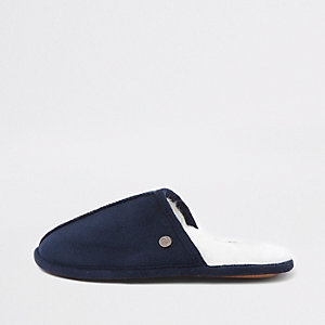 Boys navy mule slippers