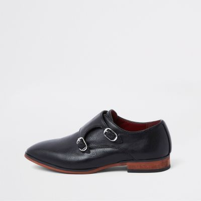 Boys Black Monk Strap Pointed Shoes by River Island