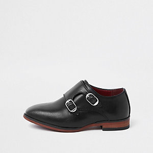 Mini boys black monk strap pointed shoes