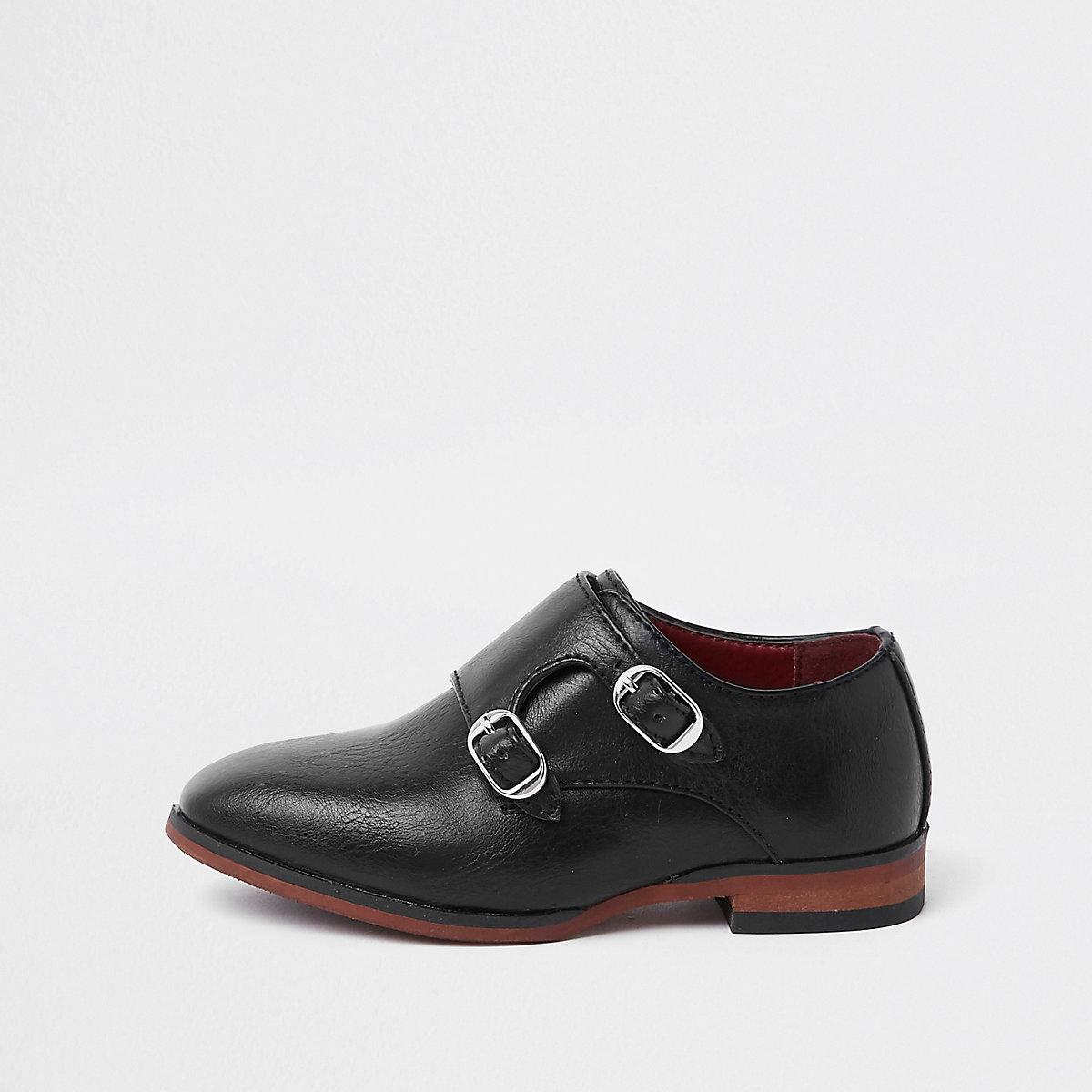 Mini boys black monk strap pointed shoes