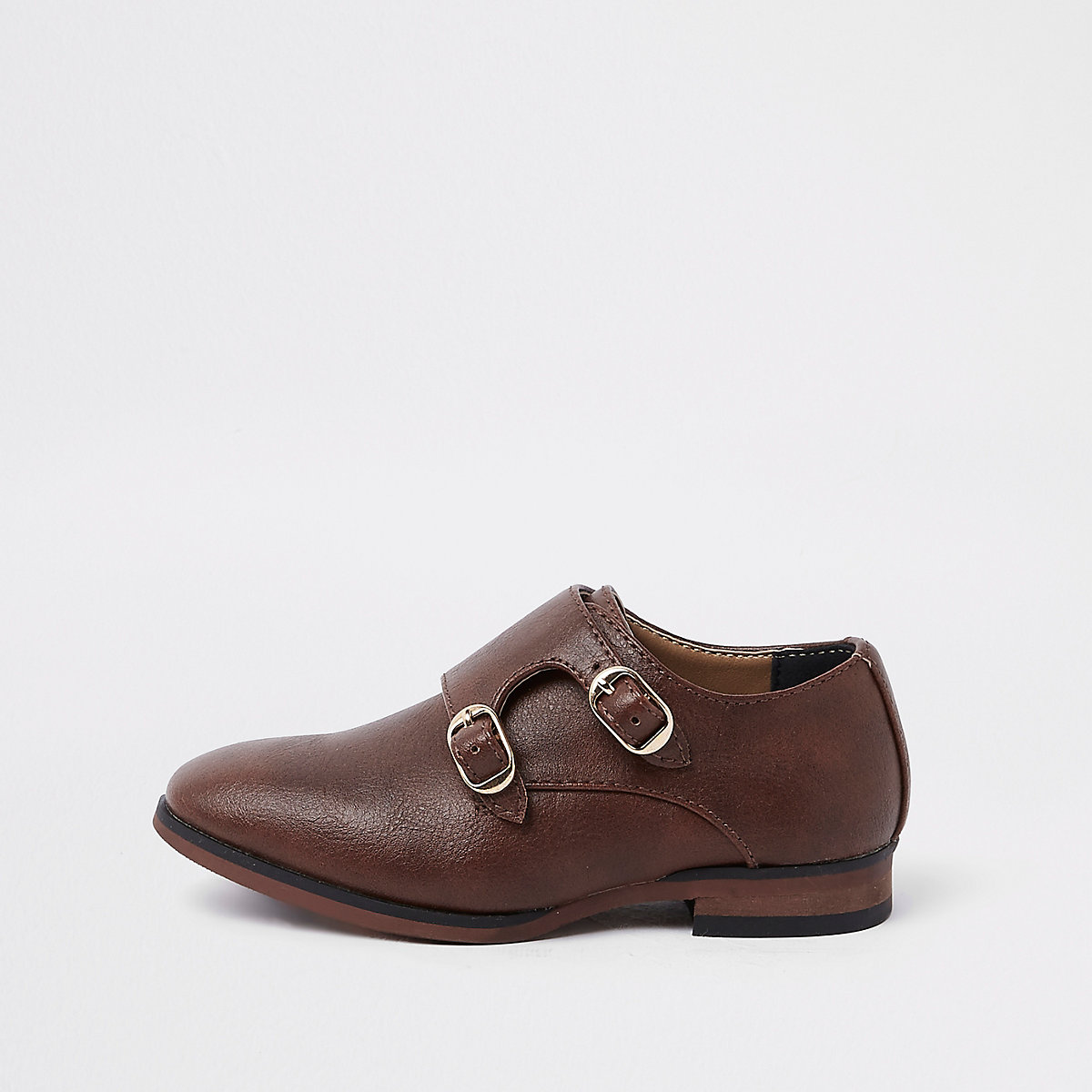 Mini boys brown monk strap pointed shoes