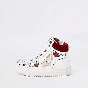 Mini - Witte verfraaide hoge sneakers voor kinderen