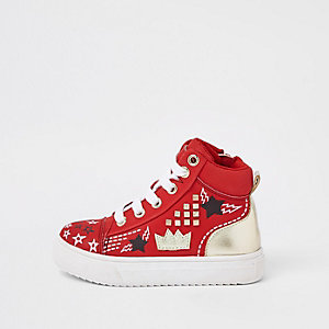 Mini kids red customised high top trainers