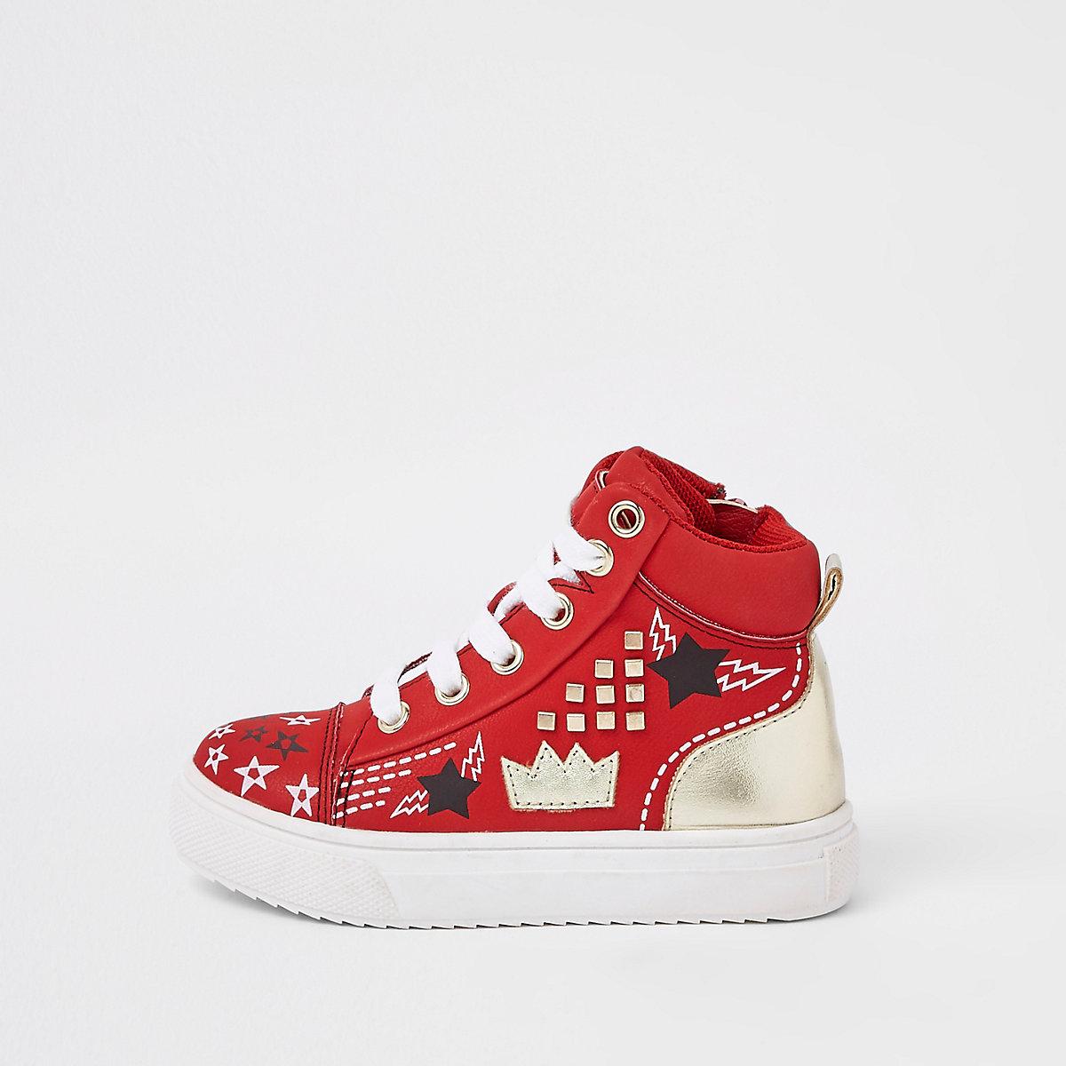 Mini kids red customized high top sneakers