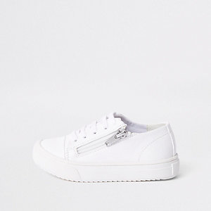 Mini boys white zip side lace-up trainers