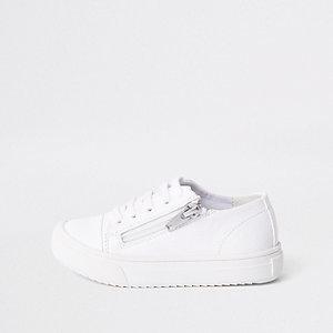 Mini - Witte vetersneakers met rits opzij voor jongens