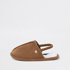 Mini boys tan mule slippers
