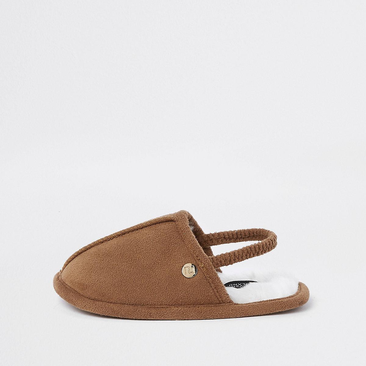 Mini boys tan mule slippers