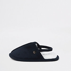 Mini boys navy mule slippers