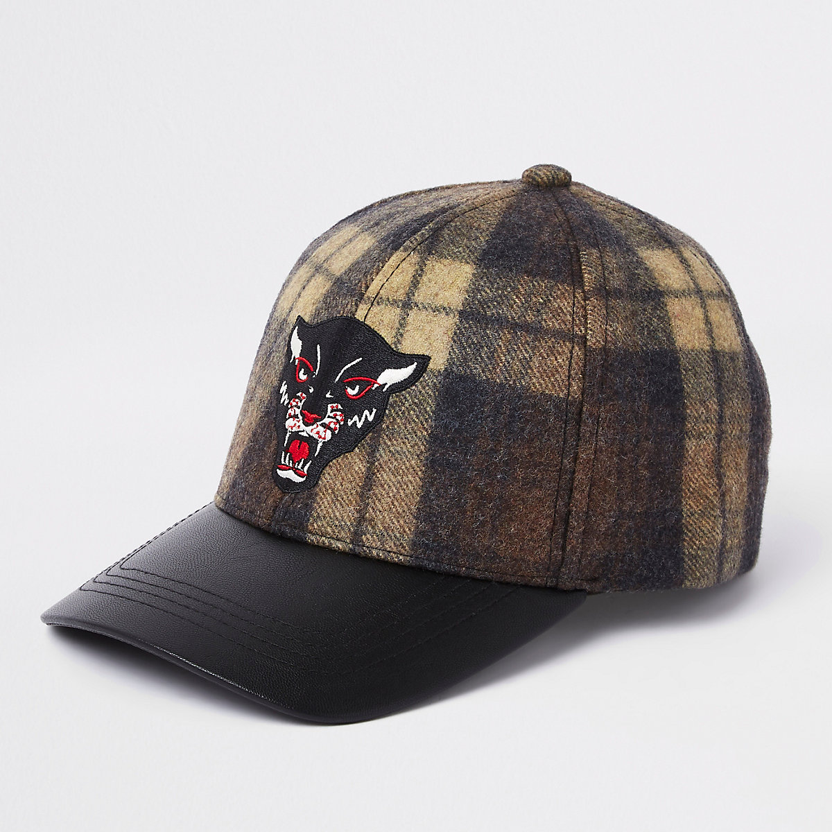 Boys khaki check panther embroidered cap