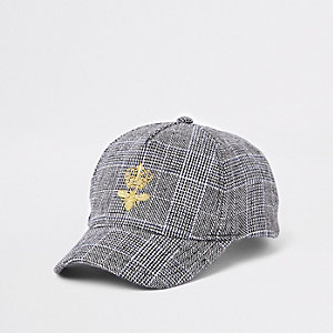 Boys grey check print bee baseball cap