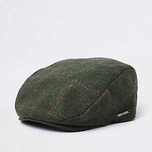 Boys khaki green check flat peak cap