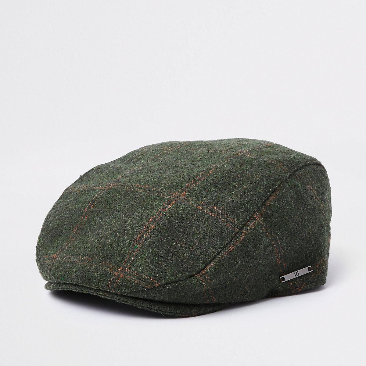 87f0ceb5518bd Boys khaki green check flat peak cap - Hats - Accessories - boys