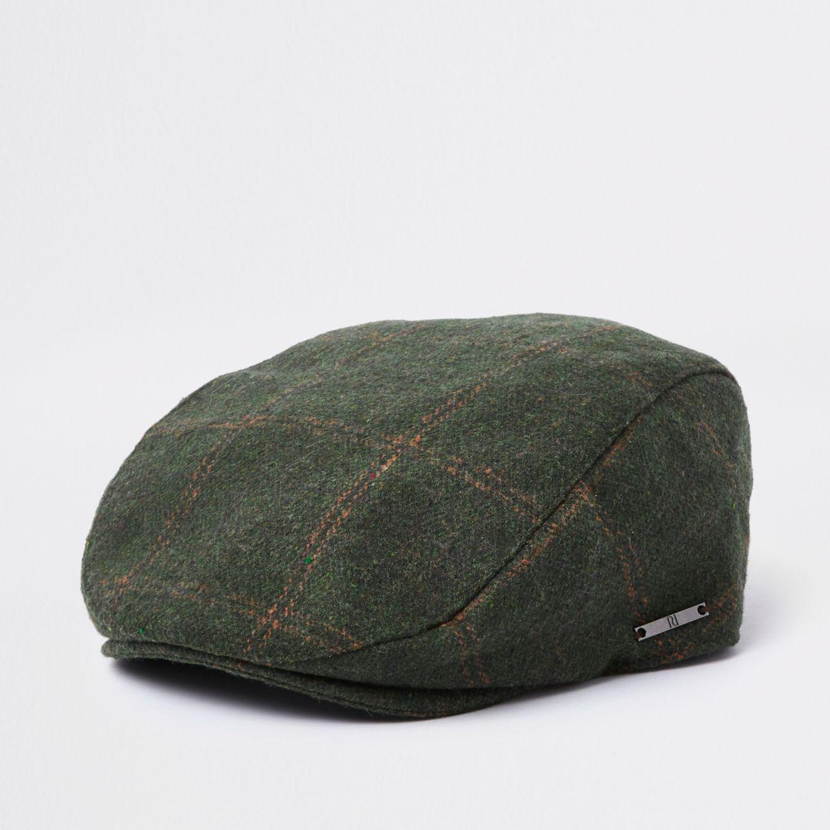 Boys khaki green check flat peak cap