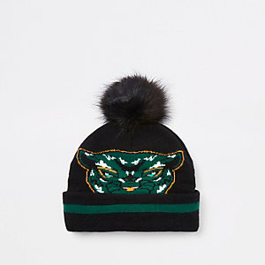 Mini boys Black Panther faux fur beanie hat