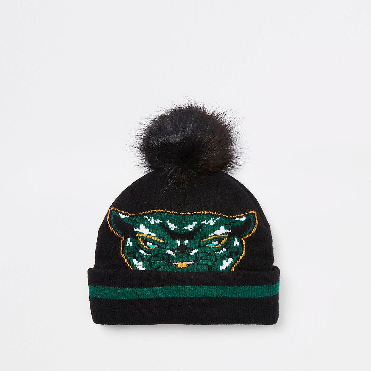 Mini boys Black Panther faux fur beanie hat