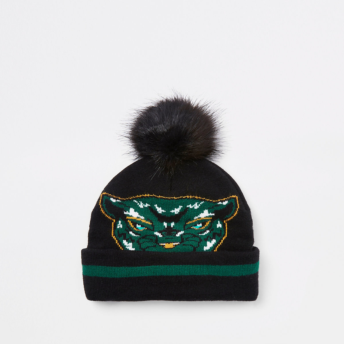 Mini boys Black Panther faux fur beanie hat - Baby Boys Accessories - Mini  Boys - boys b0d61f57ddf