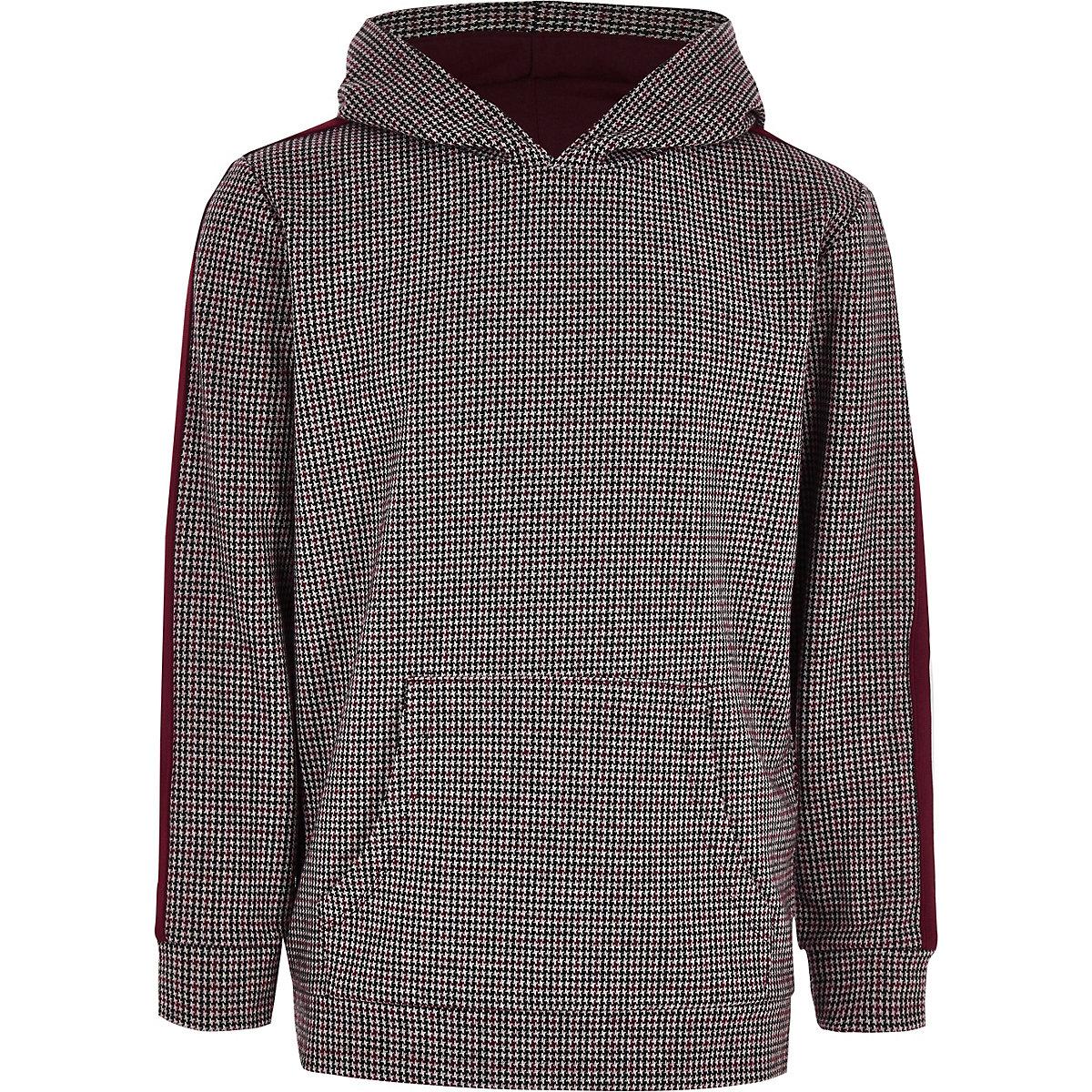 Boys burgundy check tape hoodie