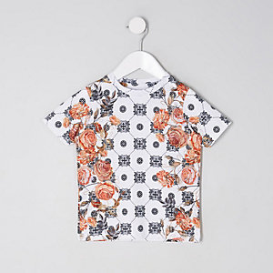 Mini boys white floral tile print T-shirt
