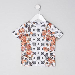 Mini - Wit gebloemd T-shirt met tegelprint voor jongens