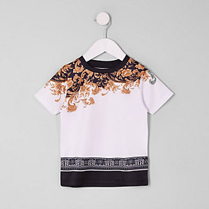 Mini - Wit T-shirt met mesh en barokprint voor jongens