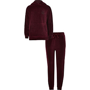 Boys burgundy 'R96' side stripe hoodie outfit