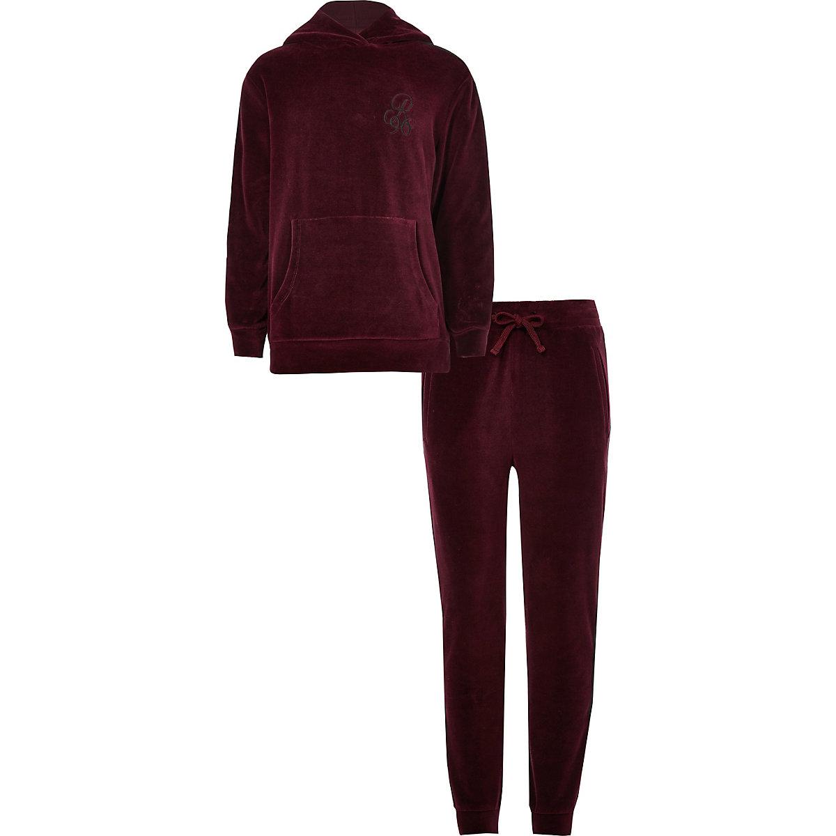 Boys burgundy 'R96' side stripe hoodie outfit