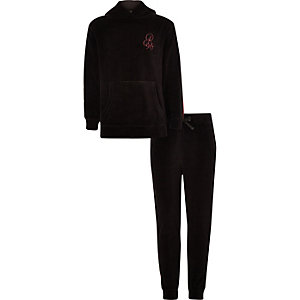 Boys black 'R96'  velour tape hoodie outfit