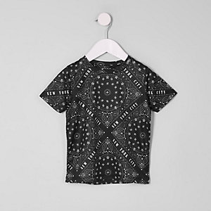 Mini boys black 'New York' mesh T-shirt