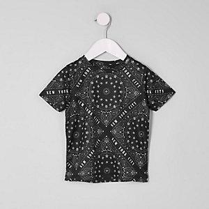 Mini - Zwart T-shirt met mesh en 'New York'-print voor jongens