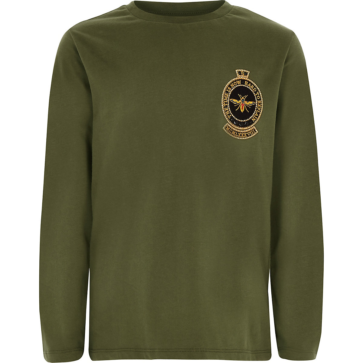 Boys khaki embroidered long sleeve T-shirt