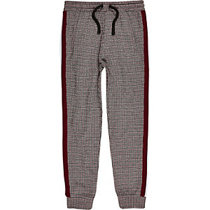 Pantalon de jogging à carreaux rouge foncé à bandes pour garçon