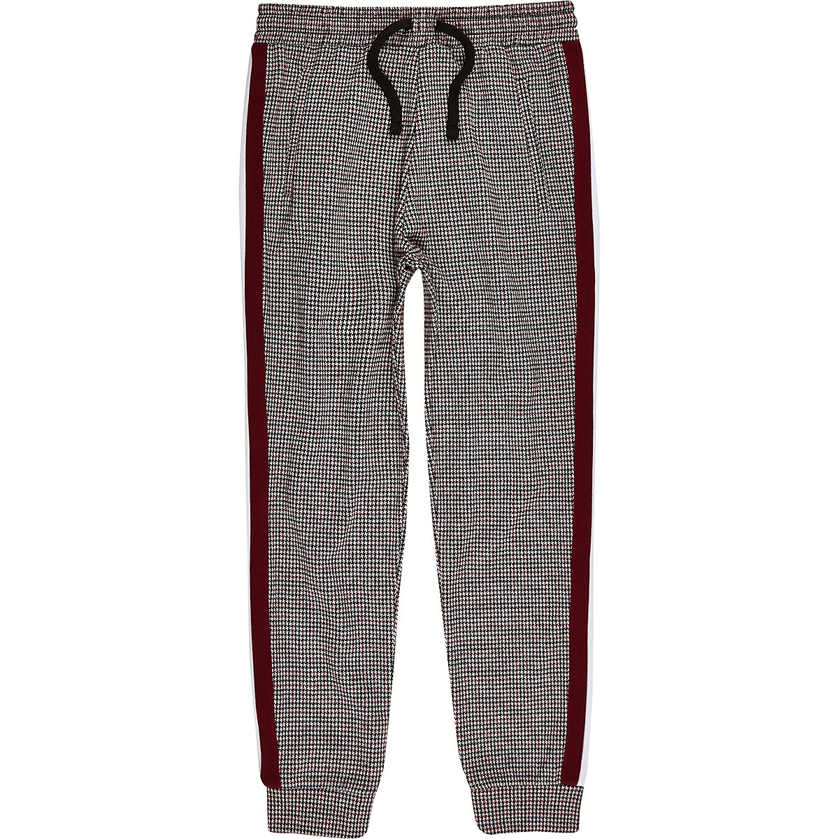 Boys dark red check print taped joggers