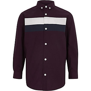 Boys purple colour block shirt
