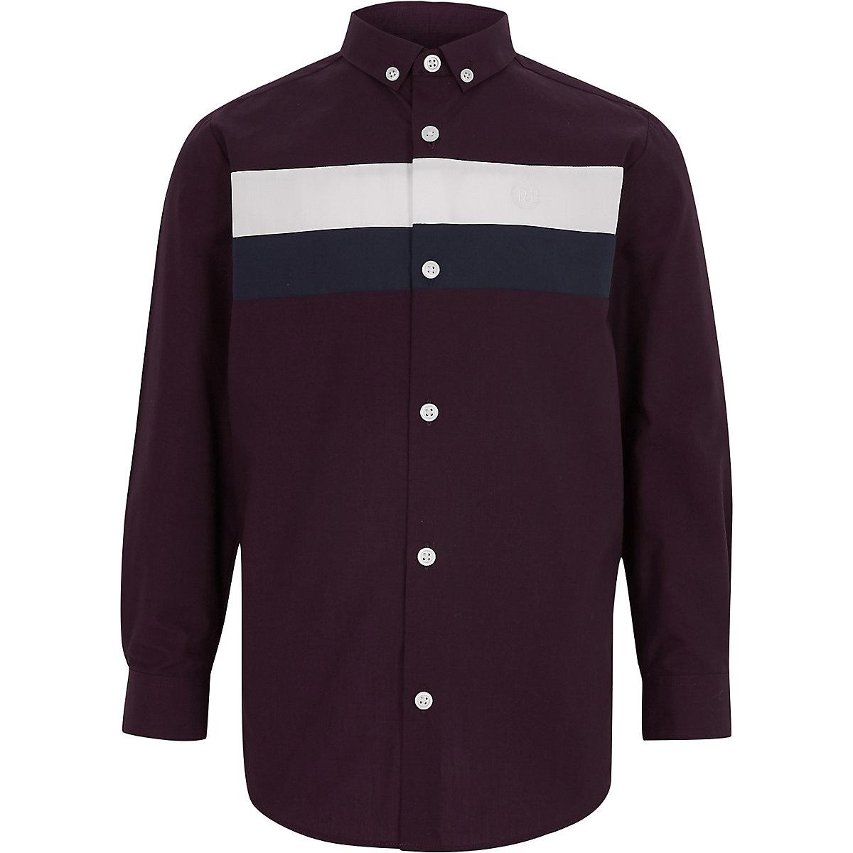 Boys purple colour block shirt
