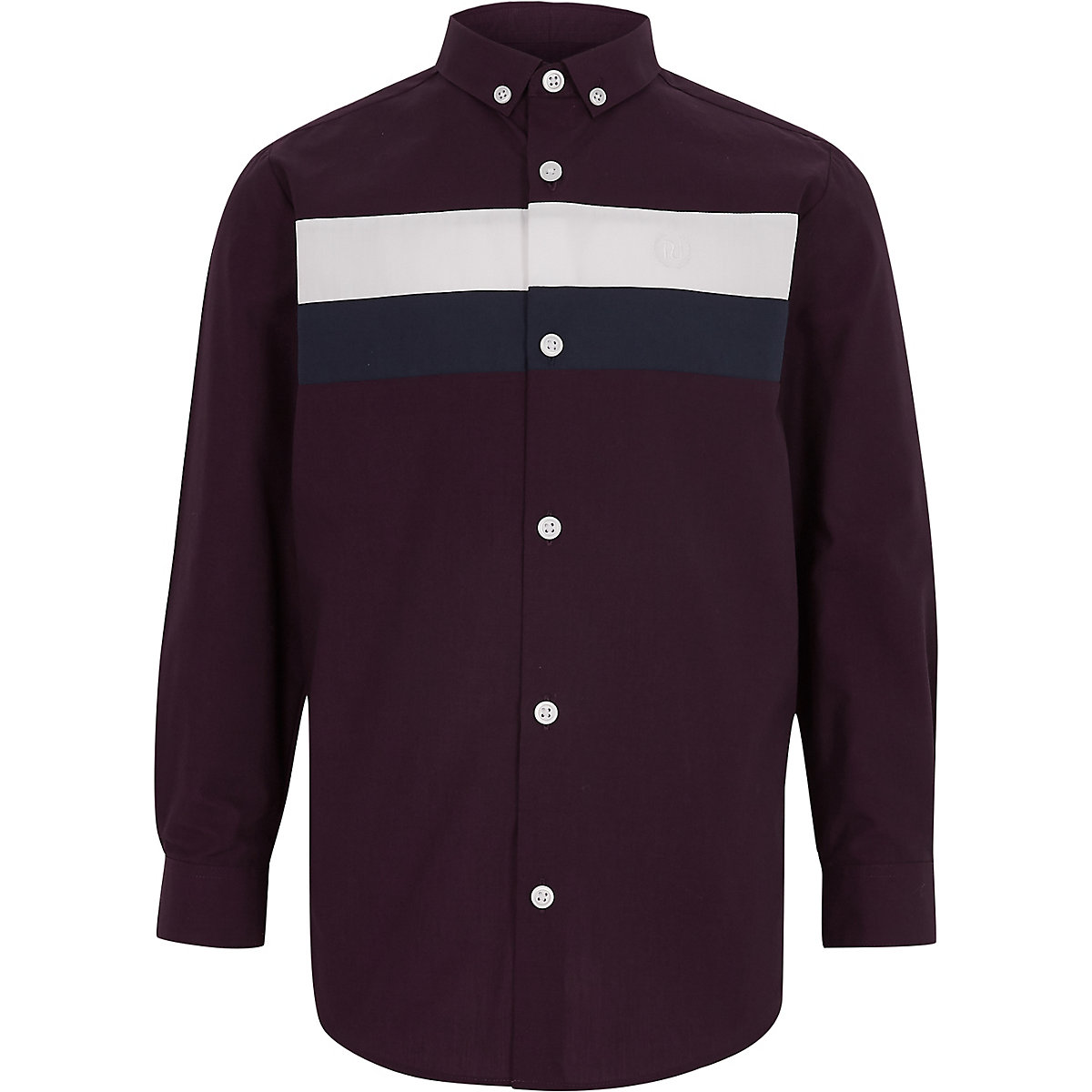 Boys purple color block shirt