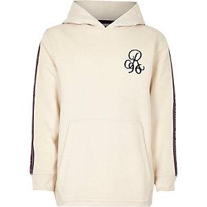 Kiezelkleurige hoodie met 'R96'-borduursel en band opzij voor jongens