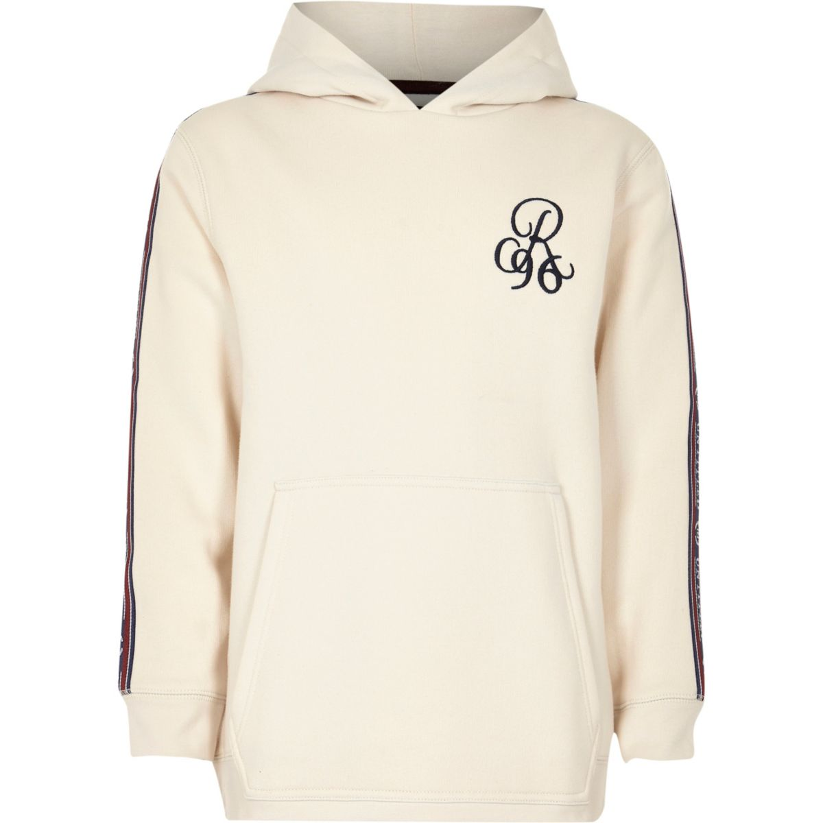 Boys stone 'R96' embroidered tape side hoodie