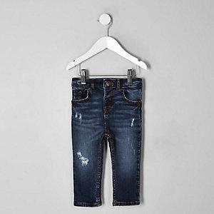 Mini - Sid - Donkerblauwe skinny jeans voor jongens