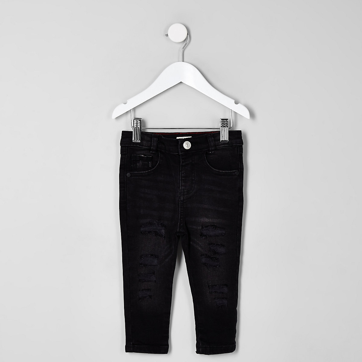 Mini boys black wash Sid ripped skinny jeans