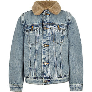 Boys blue fleece denim jacket