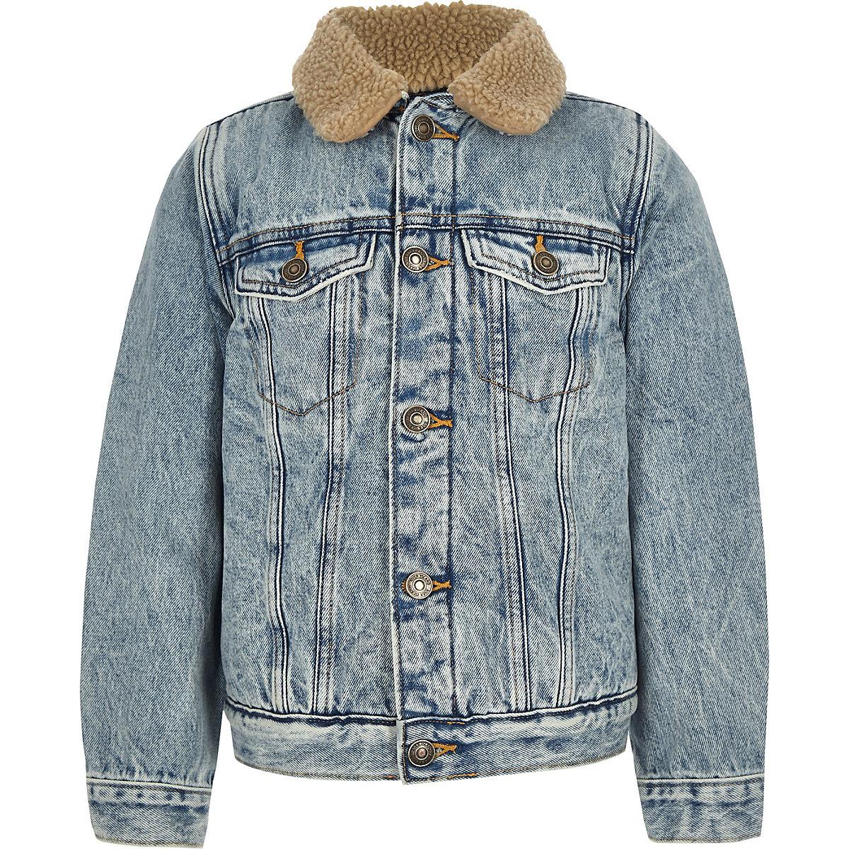 Boys blue borg denim jacket