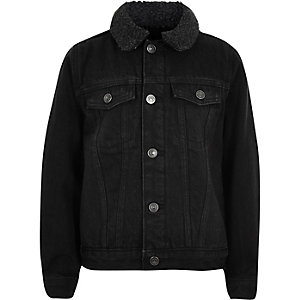 Boys black wash fleece lined denim jacket